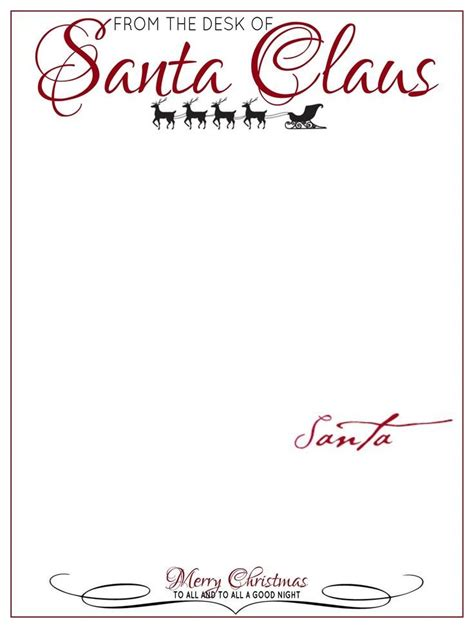Letter From Santa Template Word Letter To Santa Template Word Sle Letter Template