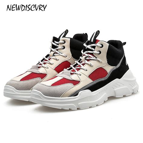 Newdiscvry Genuine Leather Mesh Men Dad Sneakers