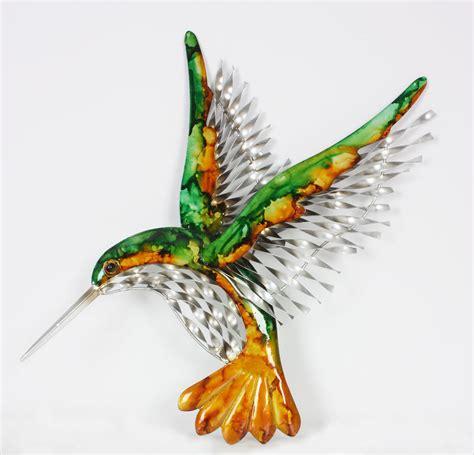stunning colour hummingbird metal wall indoor