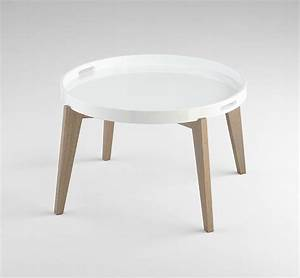 white lacquered wood round coffee table by cyan design With white and wood round coffee table