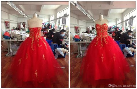 Embroidery Red & Gold Quinceanera Dresses 2015 Masquerade