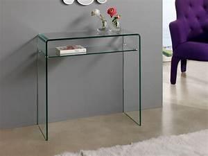 Console Verre Et Bois : console verre gary 80 x 30 x 76 cm 83913 ~ Teatrodelosmanantiales.com Idées de Décoration