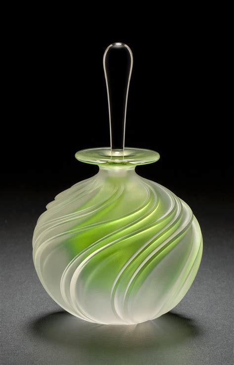 apple green swirl  mary angus art glass perfume bottle