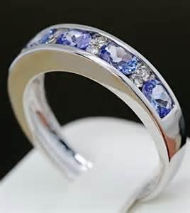 tanzanite wedding ring set genuine tanzanite channel set wedding band ring solid 18k white gold ebay