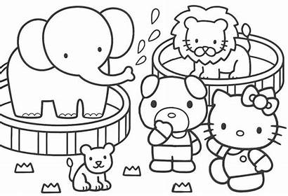 Coloring Kitty Hello Pages Colouring Printable Dessin