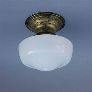 S milk glass school house flush mount ceiling fixture
