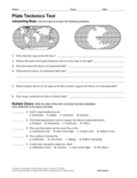 plate tectonics test earth science printable grades 6