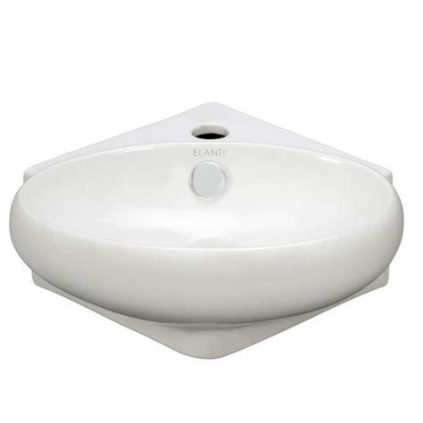 elanti wall mounted corner oval compact bathroom sink in