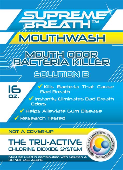 Chlorine Dioxide Mouthwash/Mouthrinse, Get rid of chronic