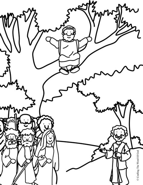 zacchaeus   coloring page crafting  word  god
