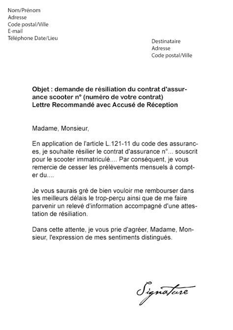 modele lettre resiliation assurance garantie accidents vie loi chatel modele lettre resiliation assurance moto
