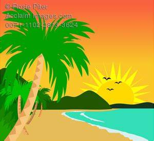 Clip Art Illustration Of A Tropical Beach On A Sunny Day ...