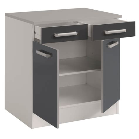 d馗or de cuisine meuble bas de cuisine contemporain 80 cm 2 portes 2 tiroirs blanc gris brillant romaric cuisine