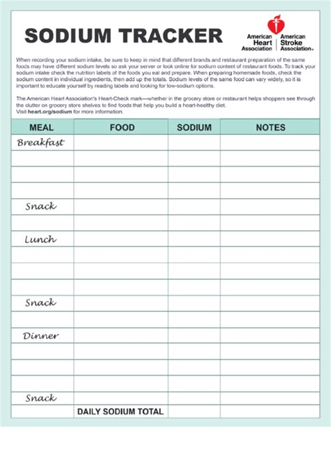 sodium tracker recording worksheet printable