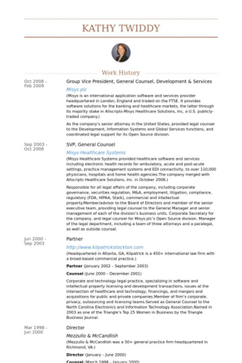 general counsel resume sles visualcv resume sles