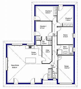 plan de maison 3 chambres 1 bureau