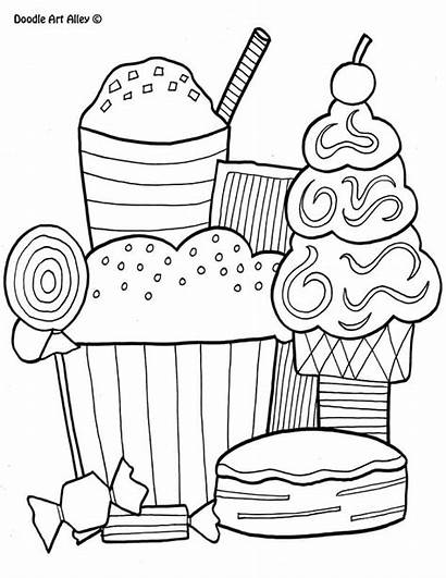Coloring Doodle Pages Alley Desserts