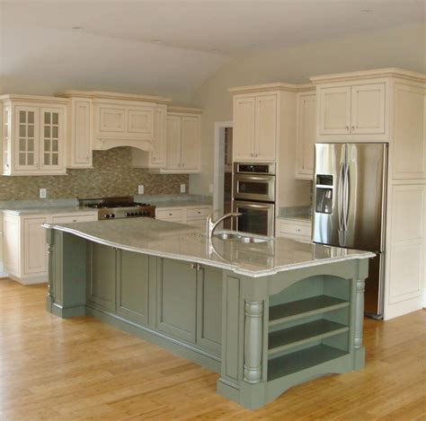 green kitchen island inset white with glaze and green island