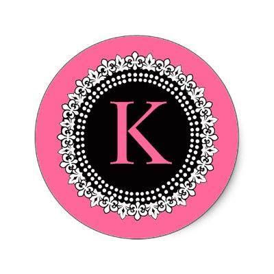hot pink monogram  fleur de lis wedding sticker hot