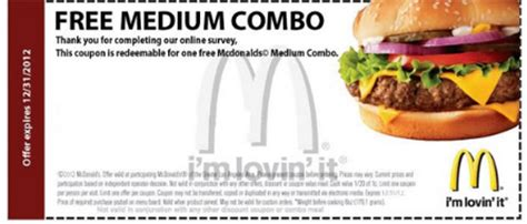 Free Coupon For One Free Medium Mcdonalds Meal Other