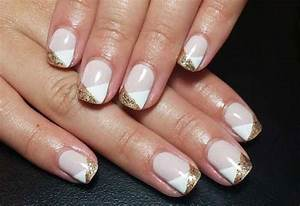 French Manicure with Glitter, Gold, Silver line Designs ...