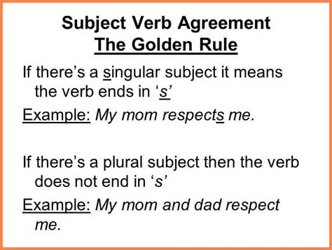 5 of subject verb agreement with 5 exles