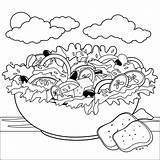 Salad Coloring Bowl Vegetables Greek Vegetable Illustration Alamy Stew Outline Vector Prepared Drawn Pan Recipe sketch template