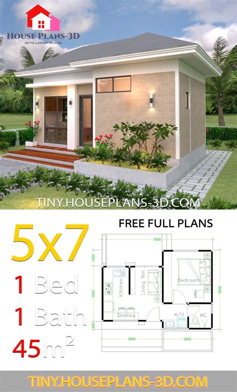 Small House Design Plans 5x7 with One Bedroom Hip Roof en