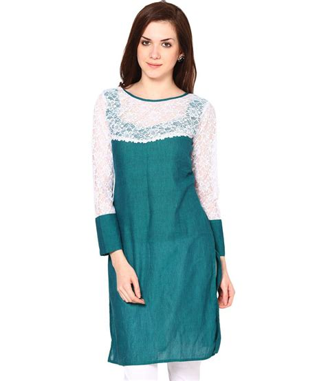 Boat Neck Kurti Tops by Abhishti Green Cotton Boat Neck Kurti Price In India Buy