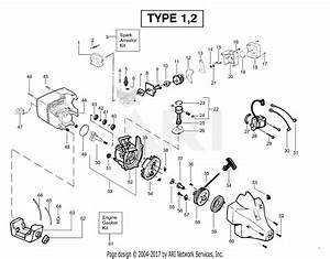 Poulan Twist U0026 39 N Edge Gas Trimmer Type 1  Tne Type 1 Parts Diagram For Power Unit Type 1  U0026 2