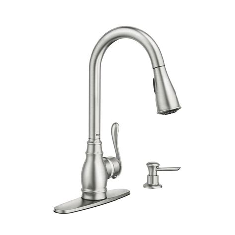 kitchen pull faucet reviews shop moen anabelle spot resist stainless 1 handle pull