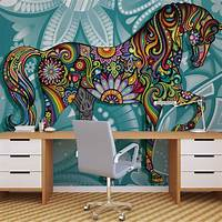 excellent abstract wall mural Horse Flowers Abstract Colours Wall Paper Mural   Buy at EuroPosters