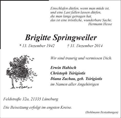 brigitte springweiler traueranzeige lz gedenkkerzen