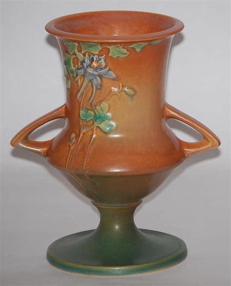 roseville pottery columbine brown vase  sale antiques