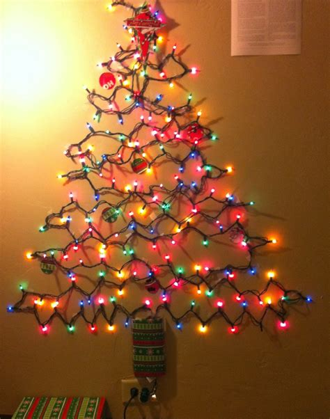 light tree on wall christmas on a budget alternative christmas tree ideas