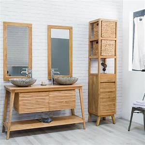 Meuble sous vasque (double vasque) en bois (teck) massif : Scandinave, naturel, L : 140 cm
