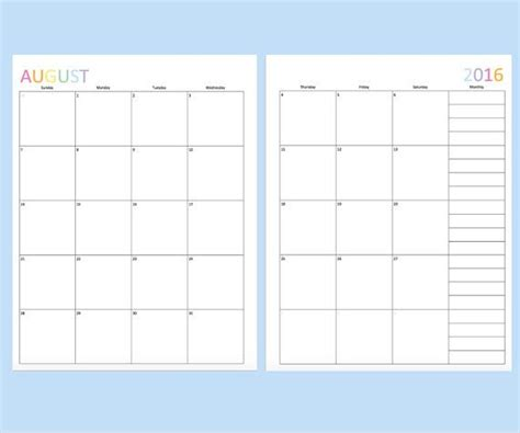 monthly calendar template images pinterest
