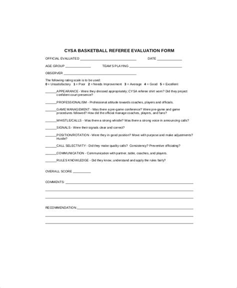 sle basketball evaluation form 10 exles in word pdf