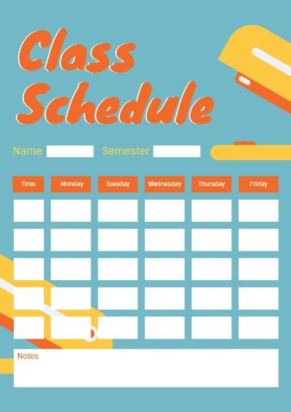 class schedule planner template fotor design maker