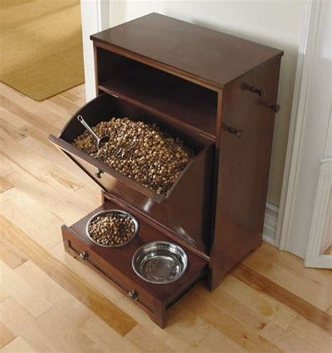 Pet Food Cabinet With Bowls by Food Storage Cabinet With Bowls Slide In Drawer Hooks