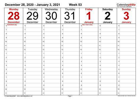 This calendar allows you to print the full year on one page, the template is available. Weekly calendar 2021 UK - free printable templates for PDF