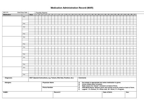 Printable Medication Administration Record Medication