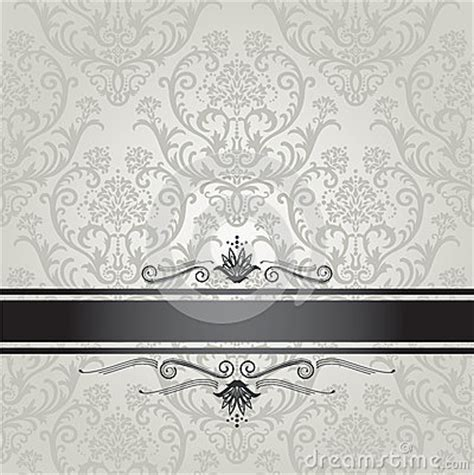 luxury silver floral wallpaper pattern  black royalty