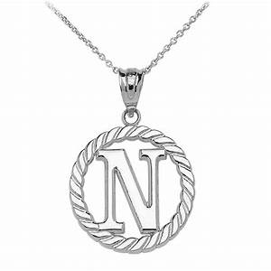 rope circle letter n pendant necklace in 9ct white gold With circle letter pendant
