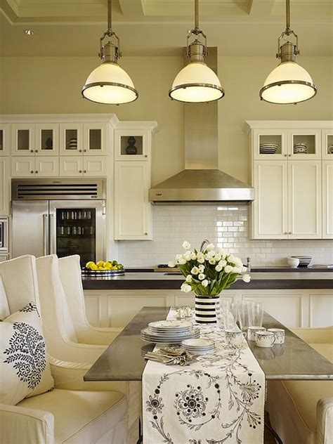 country industrial pendants  transitional kitchen