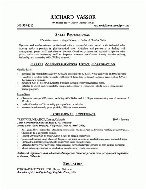 It Professional Resume Sles by Pharmaceutical Sales Resume