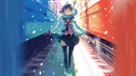 Snow Anime Wallpaper - between the trains in the snow wallpaper anime