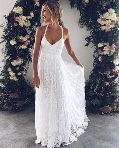 White Flower Lace V Neck Long Summer Beach Prom Dress