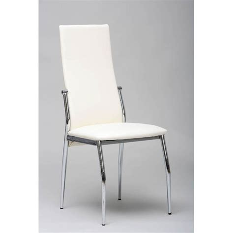 folio dining chair in white faux leather with chrome legs