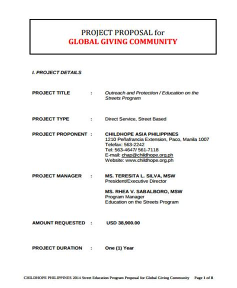 ngo project proposal templates